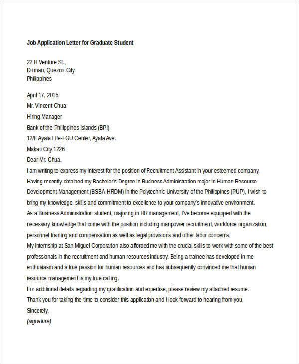 Application Letter For Undergraduate Student Sample