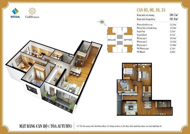 Mặt bằng căn hộ 03, 06, 10, 15 chung cư GoldSeason