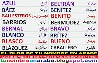 Apellidos en arabe: Bernal, Blanco, Blasco, Blazquez, Bravo, Britez, Bueno, Caballero.