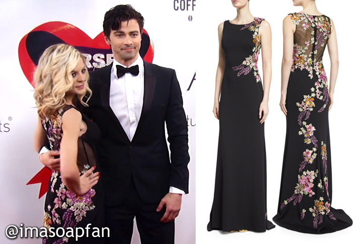 Maxie Jones, Kirsten Storms, Floral Embroidered Black Gown, Jovani, Nurses Ball, GH General Hospital