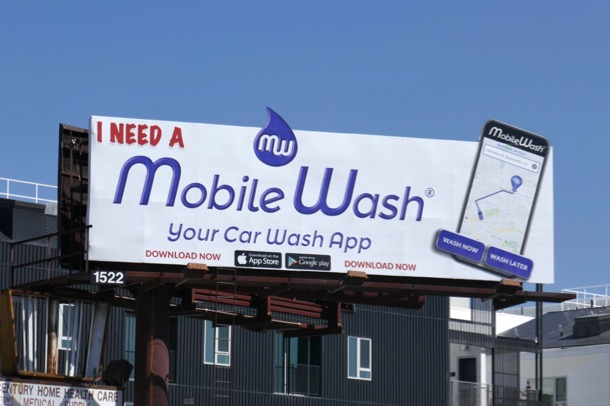 Mobile car wash app billboard