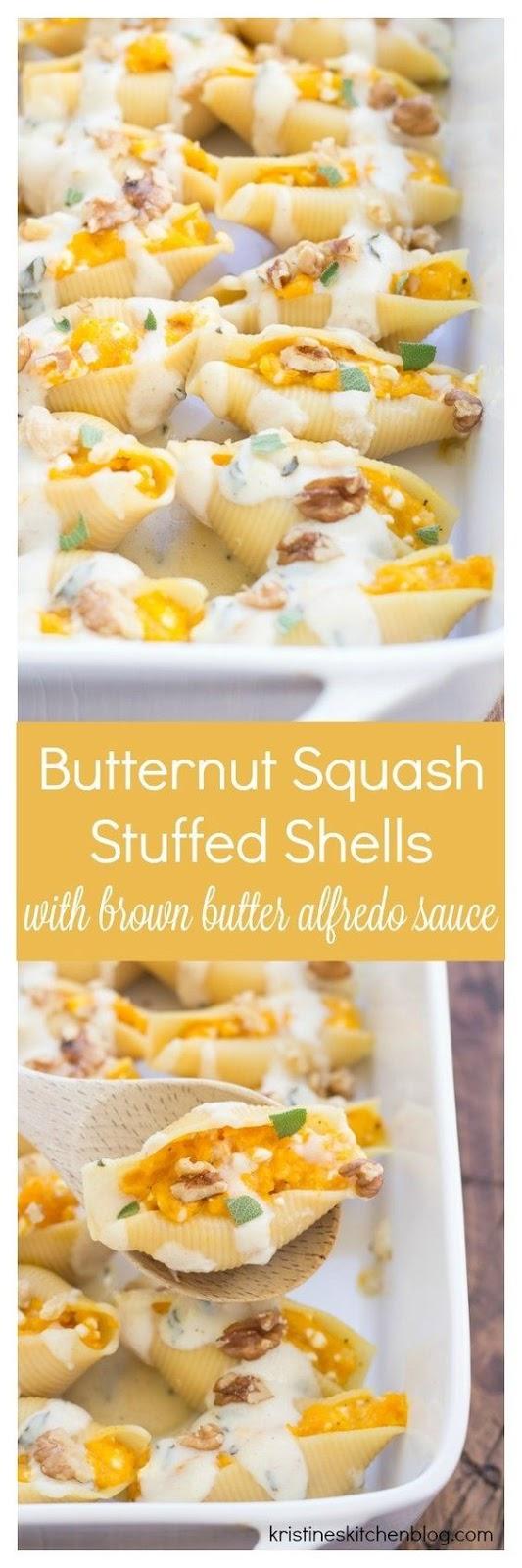 Secret Butternut Squash Stuffed Shells with Brown Butter Alfredo Sauce