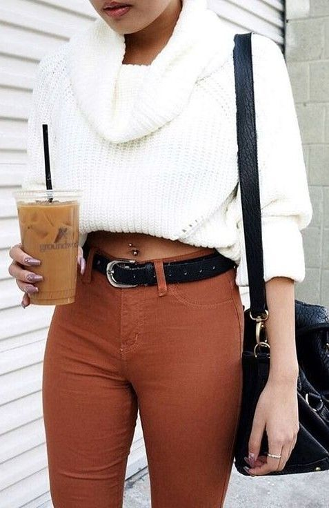 crop sweater + bag + skinnies