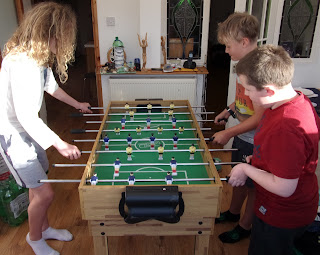 table football game in progress