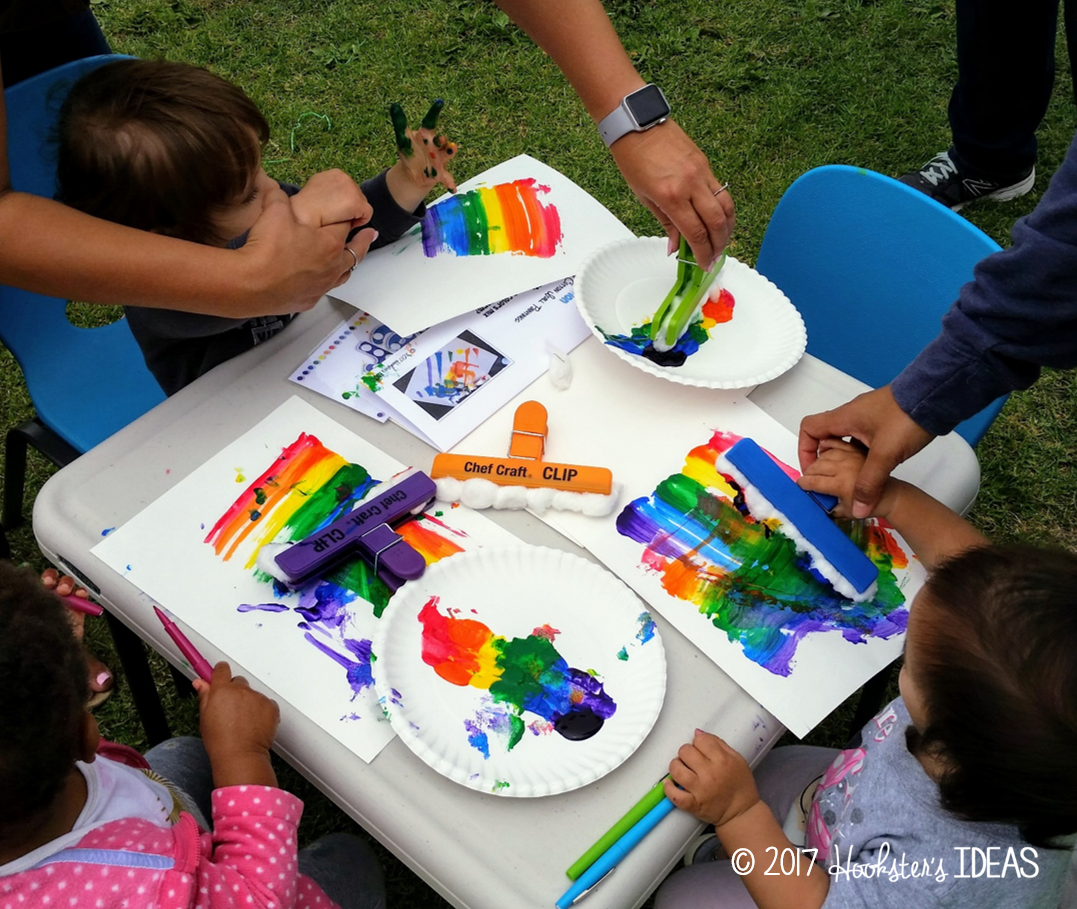 Use large chips filled with cotton balls for a fun way to paint the rainbow and learn about colors.