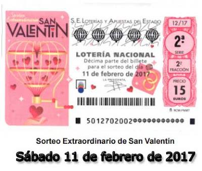 loteria nacioanl del sabado extraordinario de San Valentin