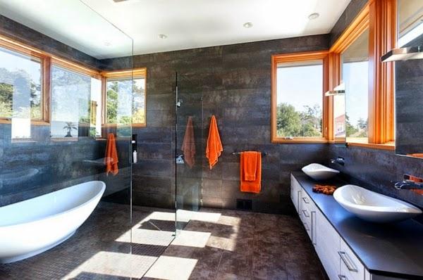 decoración baño gris