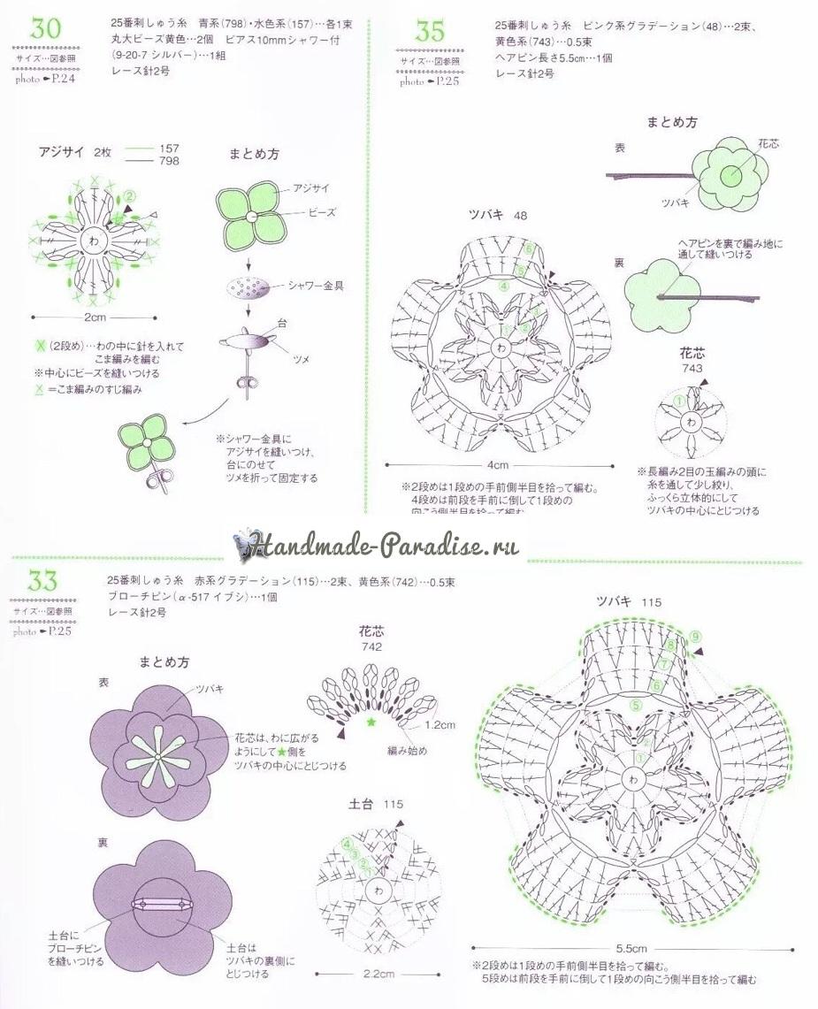 Броши и резинки крючком с цветами гортензии (4)