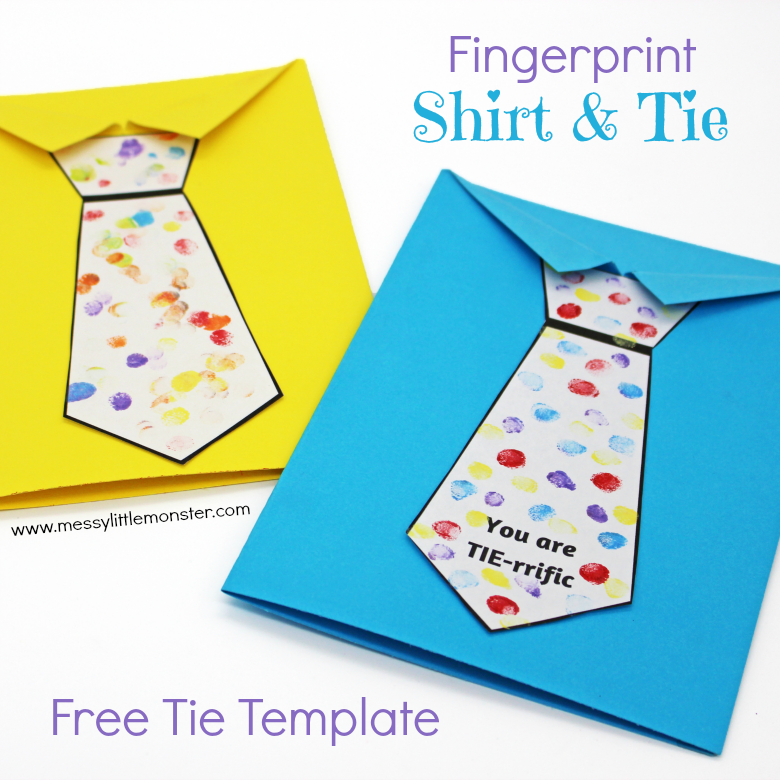 Fathers Day Tie Card With Free Printable Tie Template A Fun Shirt And Tie Craft