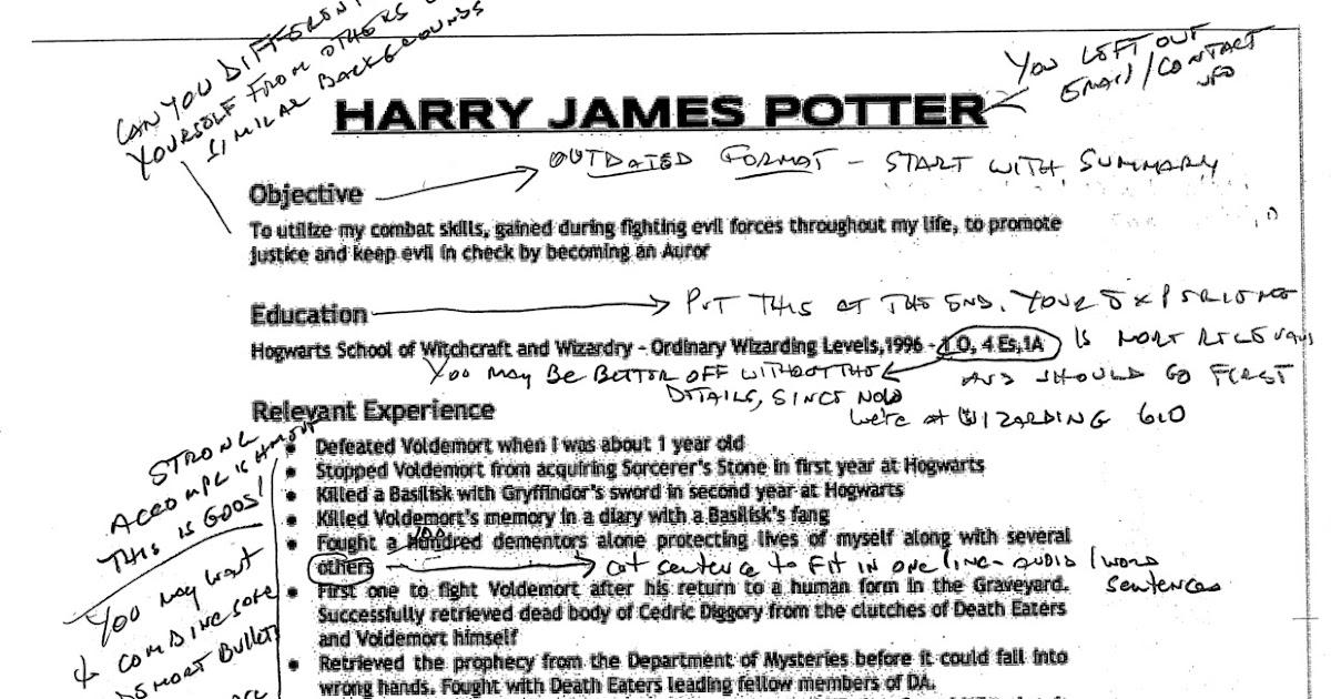 Harry Potter Resume - Unitedijawstates - harry potter resume