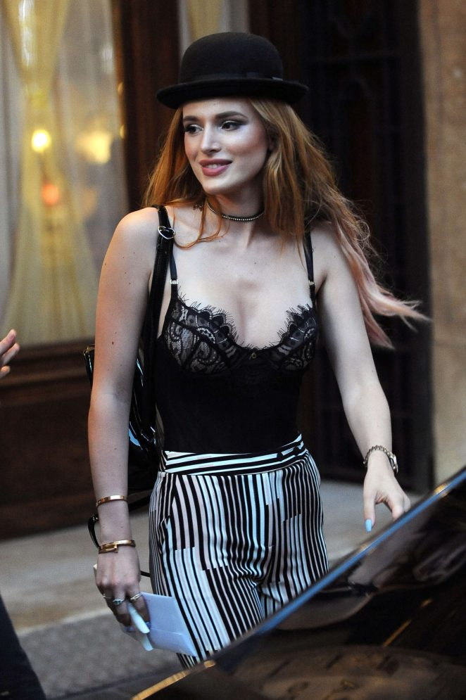 Bella Thorne walks around Rome in sheer camisole