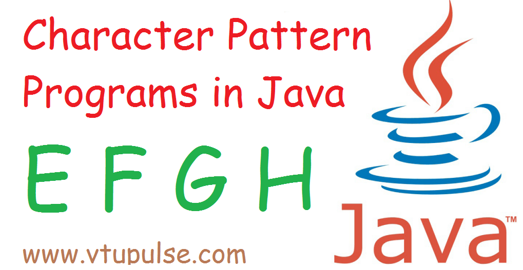 A to Z character pattern programs in java part 2