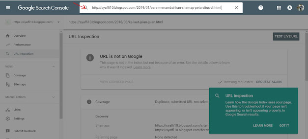 Cara Cek dan Meminta agar Google mengindeks Posting Artikel Blog Kita