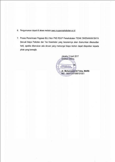 Penerimaan Pegawai Kontrak RSUP Persahabatan Tahun 2017