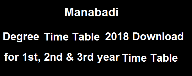 Manabadi Degree Time Table 2018 Download, Degree Time Table Download 2018