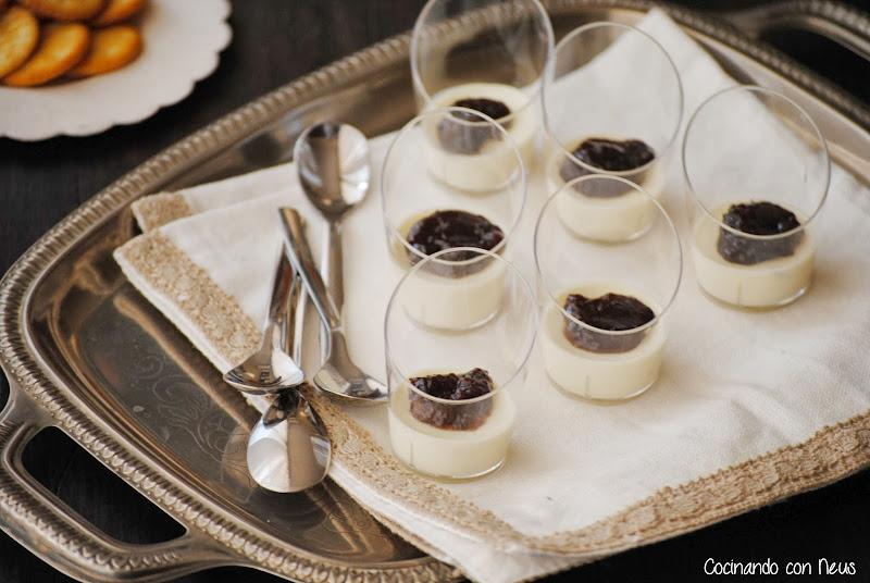 Vasitos de pannacotta de parmesano con salsa de uva y almendras Can Bech-cocinando-con-neus