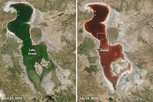 NASA Merilis Foto Danau Berwarna Merah Darah di Iran