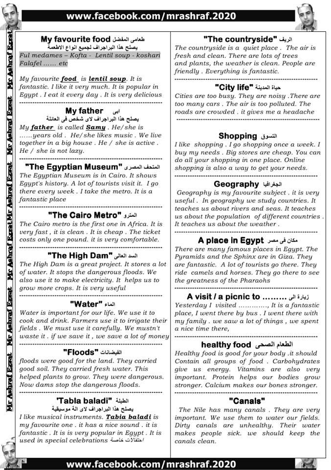 حمل شرح سؤال البراجراف المقرر على الصف الاول الاعدادى الترم الاول 2018