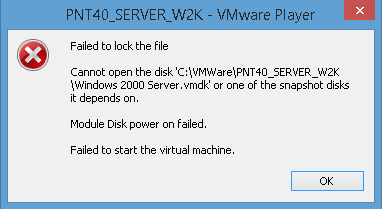 VMware - Failed to lock the file