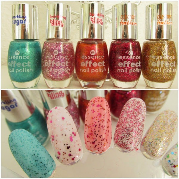 essence effect nail polish swatches - 15 underwater love, 16 lovely maybe, 17 never stop dreaming, 18 that´s my popcake, 19 gold fingers - Neuheiten Herbst 2014