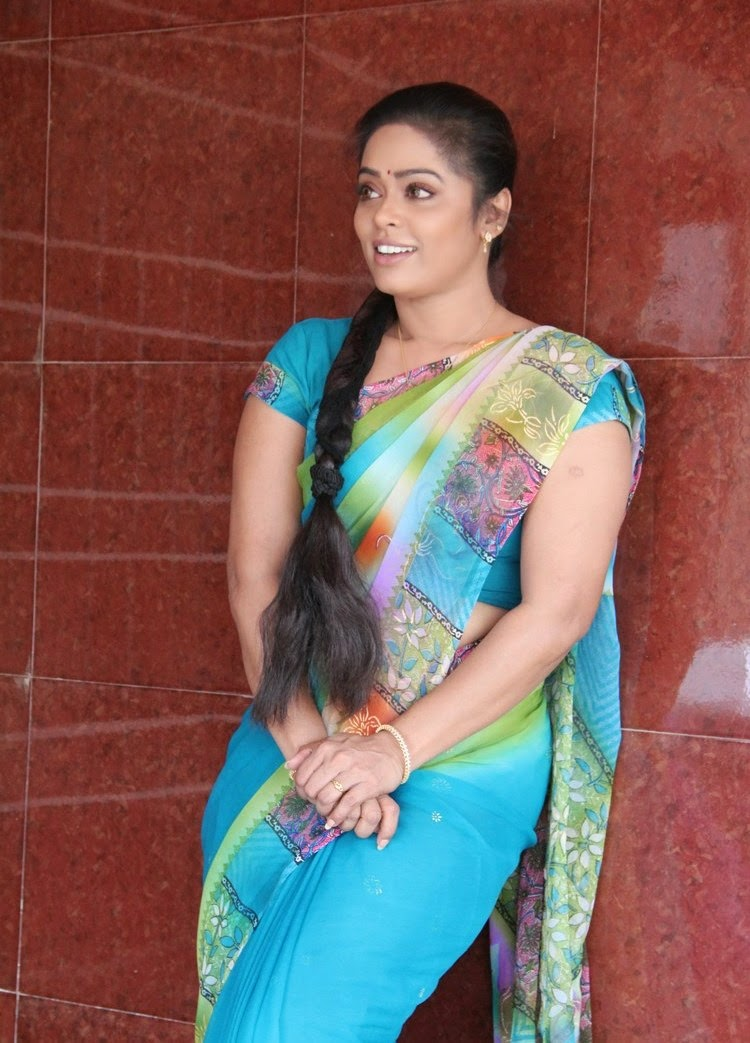 Serial Actress Devi Priya Hot Photos In Blue Saree