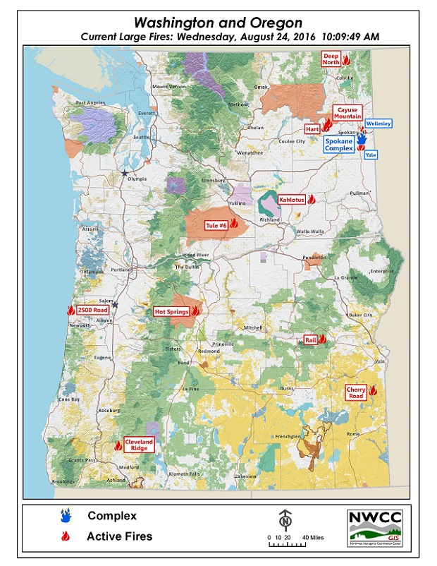 Spokane Wildfire Map.Northwest Interagency Coordination Center 8 24 2016 Nw Large Fire Map