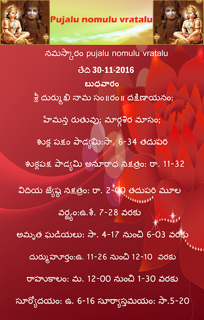 Today's panchangam in Telugu,margashira puja vidhi