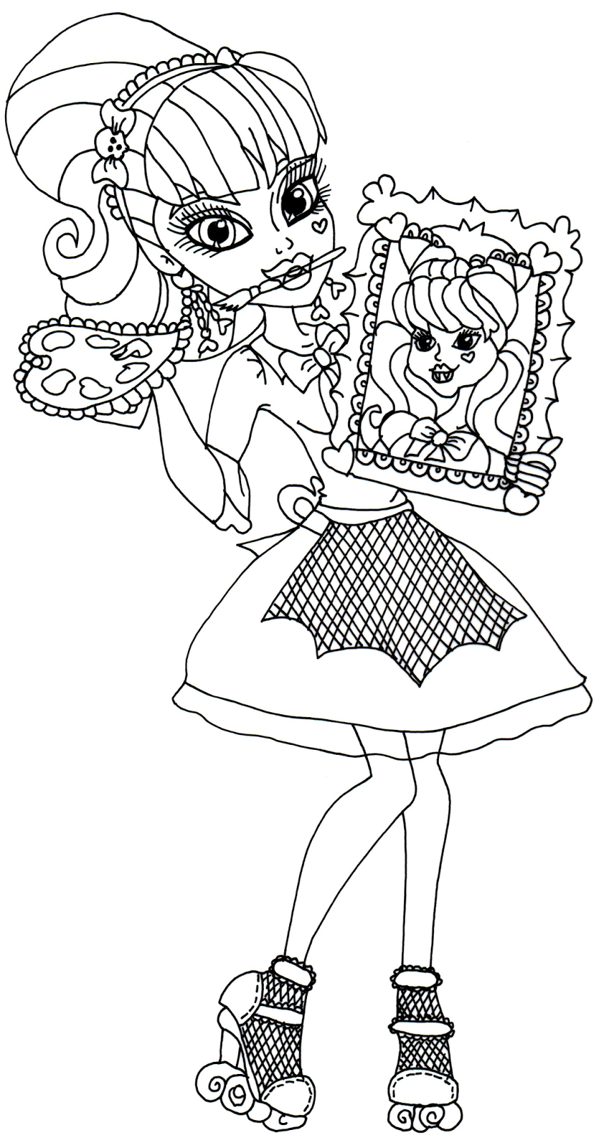 Free Printable Monster High Coloring Pages: Draculaura Art