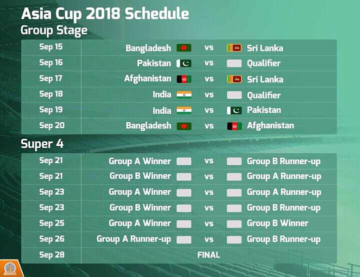 Asia Cup uae 2018 Schedule trickdunia.com