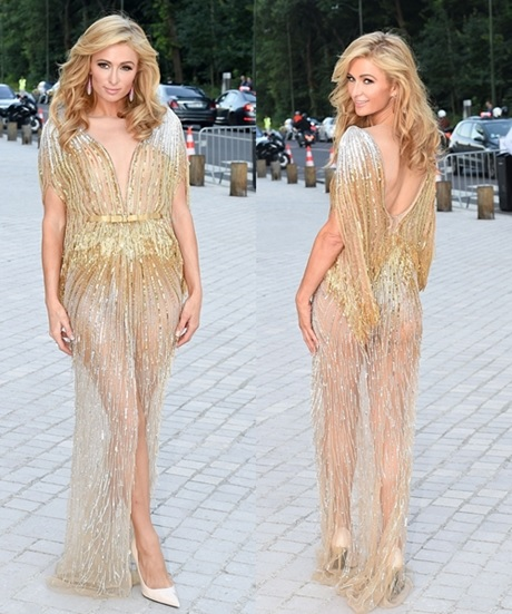 BreakTheInternet: See Paris Hilton's Glamorous N*de Gold Gown Everyone is Talking About (Photos)