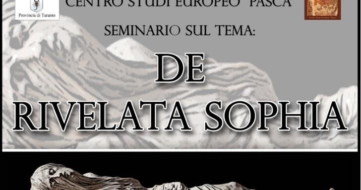 «De Rivelata Sophia»: domani il seminario a Taranto