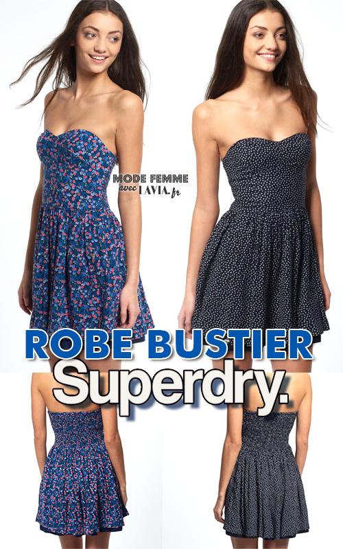 Robe d'été bustier courte imprimée bleue ou noire Superdry