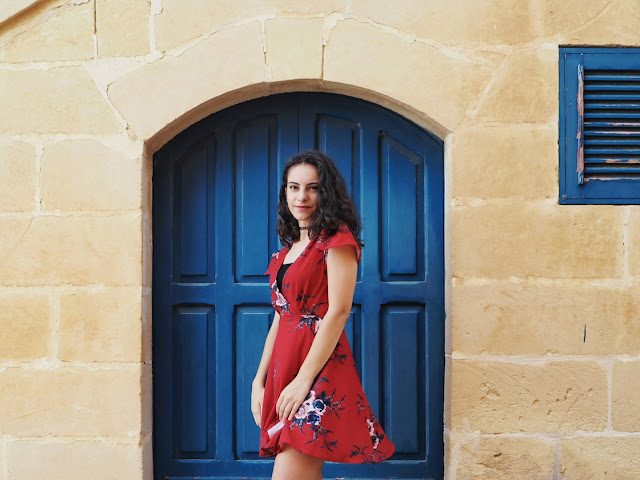 zaful dress, red floral dress, wrap dress