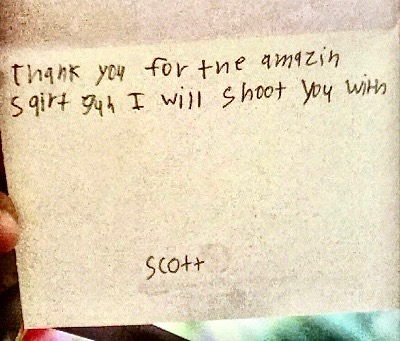 card from son to mom Thank you for the amazing squirt gun I will shoot you with. marchmatron.com