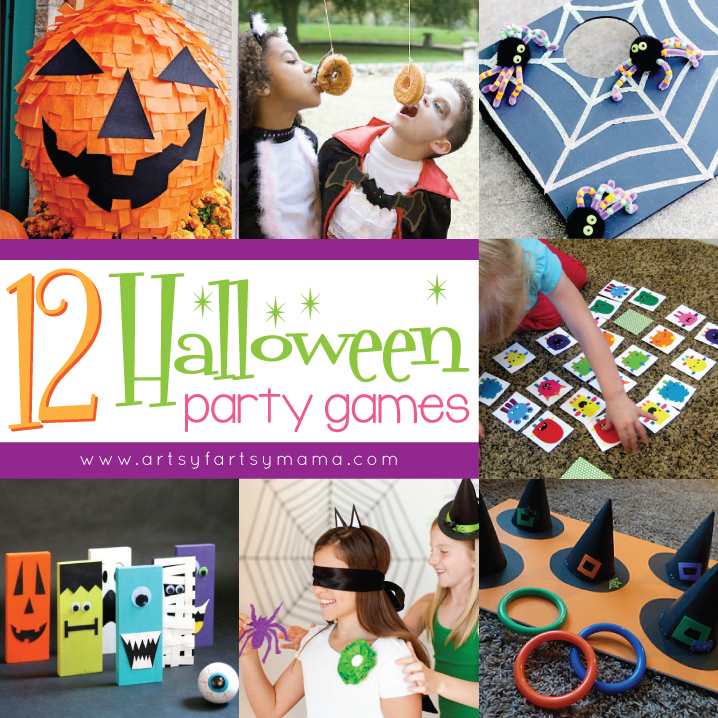 12 Halloween Party Games at artsyfartsymama.com #Halloween #party #games #kids