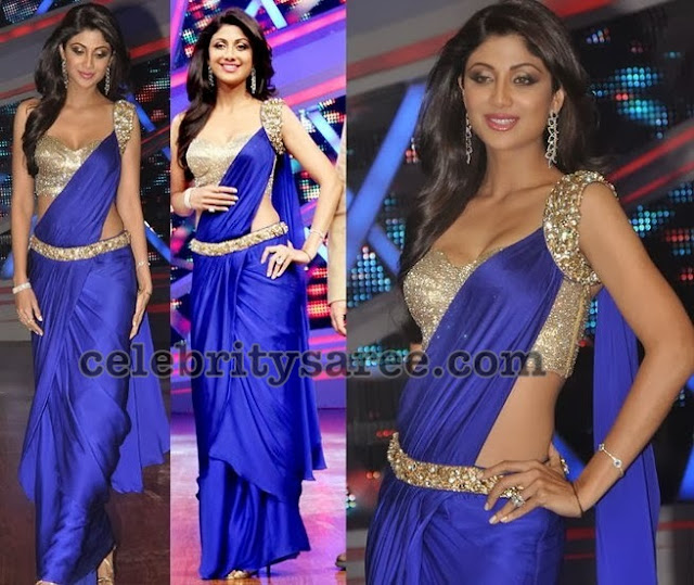 Shilpa-shetty-trendy-blue-saree