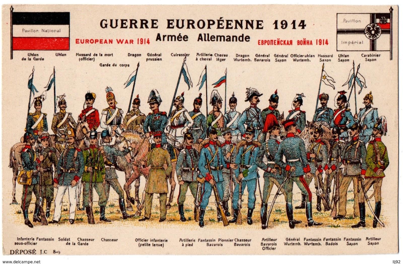 dfdfb380e7 Escolhi estes dois postais que, não deixando de ser bélicos, ilustram o  vestuário militar de dois países: a Inglaterra e a Alemanha.
