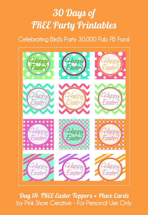 Free Printable Easter Cupcake Toppers & Place Cards  - via BirdsParty.com