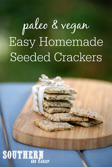 Easy Homemade Paleo Crackers Recipe - gluten free, vegan, grain free, low carb, dairy free, egg free, clean eating recipe