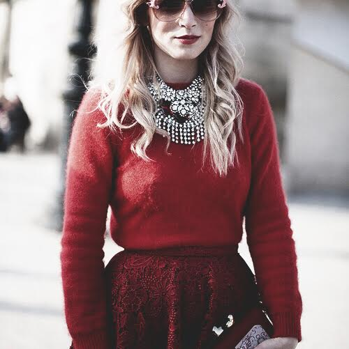 monochromatic outfit red