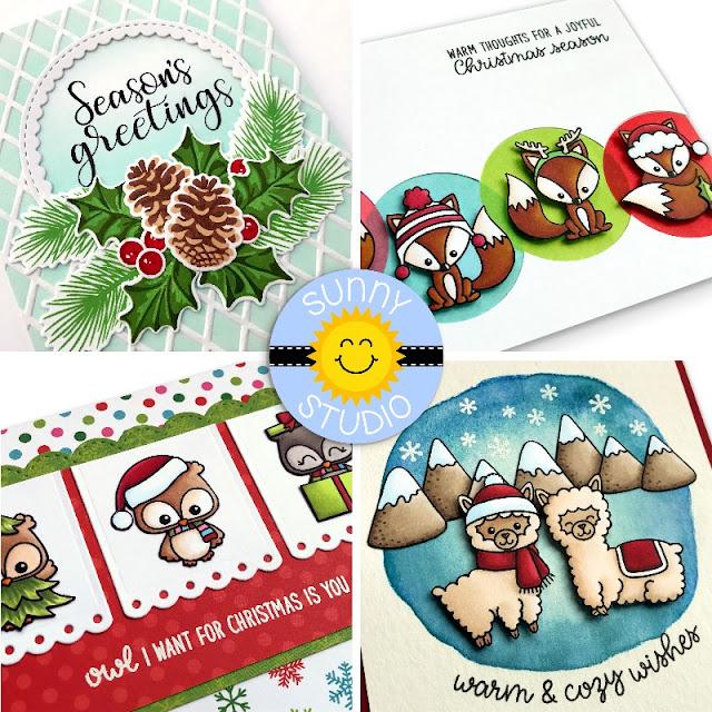 Sunny Studio: Simon Says Stamp Guest Post with 4 Holiday Christmas Cards by Mendi Yoshikawa