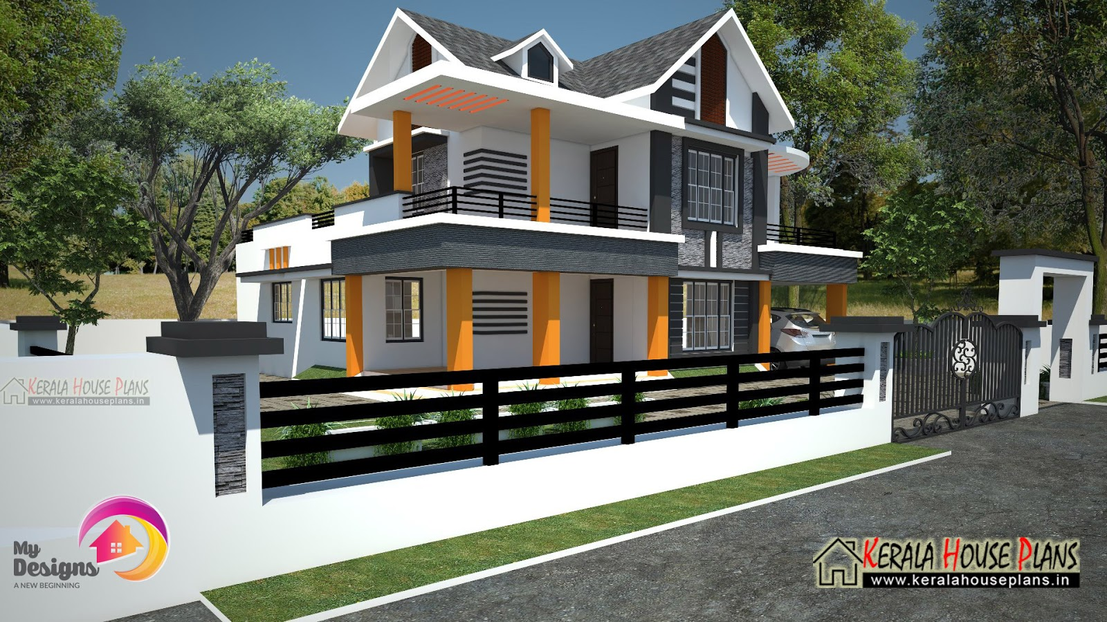 4 Bed room Double floor House Design