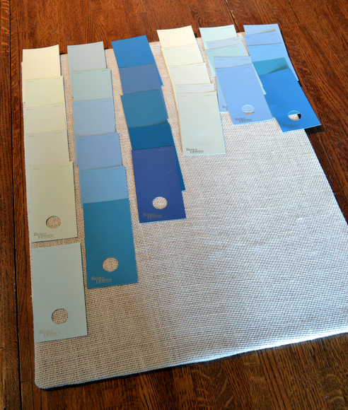I laid out the paint swatches in the colors and patterns I liked best