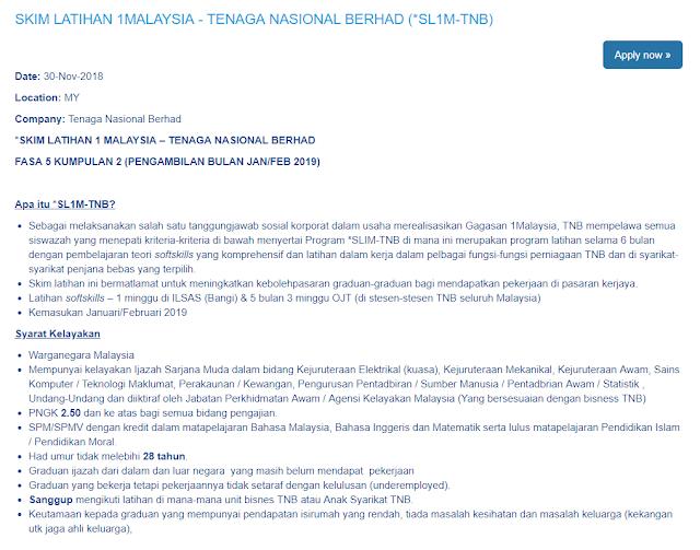 Permohonan Skim Latihan 1malaysia Tenaga Nasional Berhad