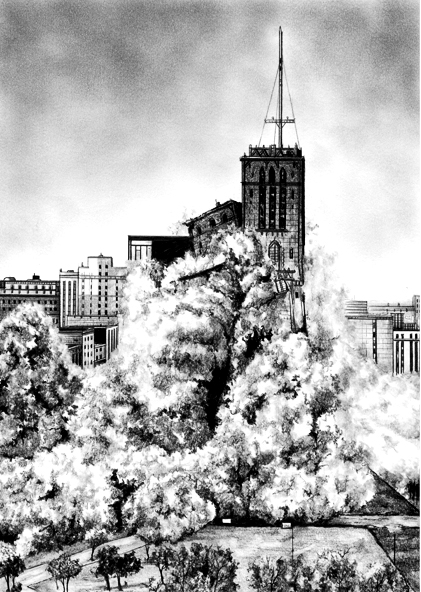Rik Smits The Park Plaza Apartments, 2011 pencil on paper 21 x 29 cm