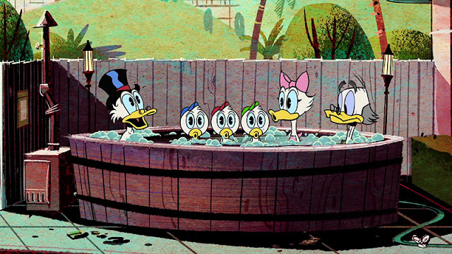 Scrooge, Huey, Dewey,  Louie, Daisy and Ludwig taking a bath