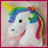 Cabeza de unicornio amigurumi
