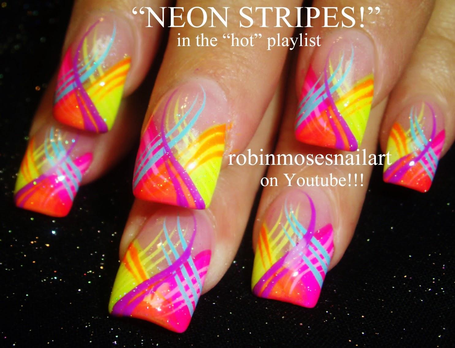 Nail Art By Robin Moses Stripe Nails Stripe Nail Art Blue