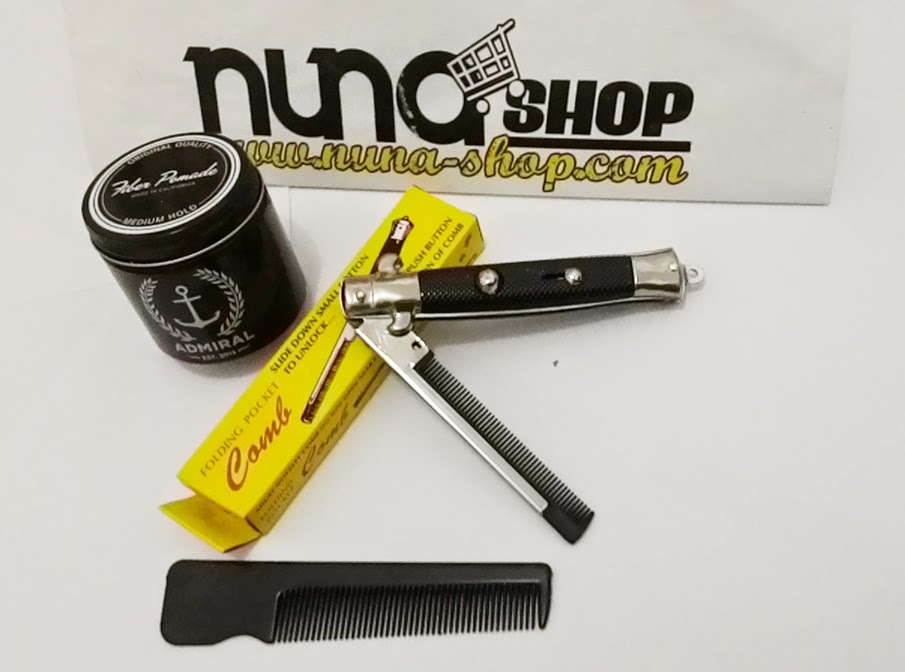 Paket Hemat Pomade Admiral Medium Hold + Switchblade Comb