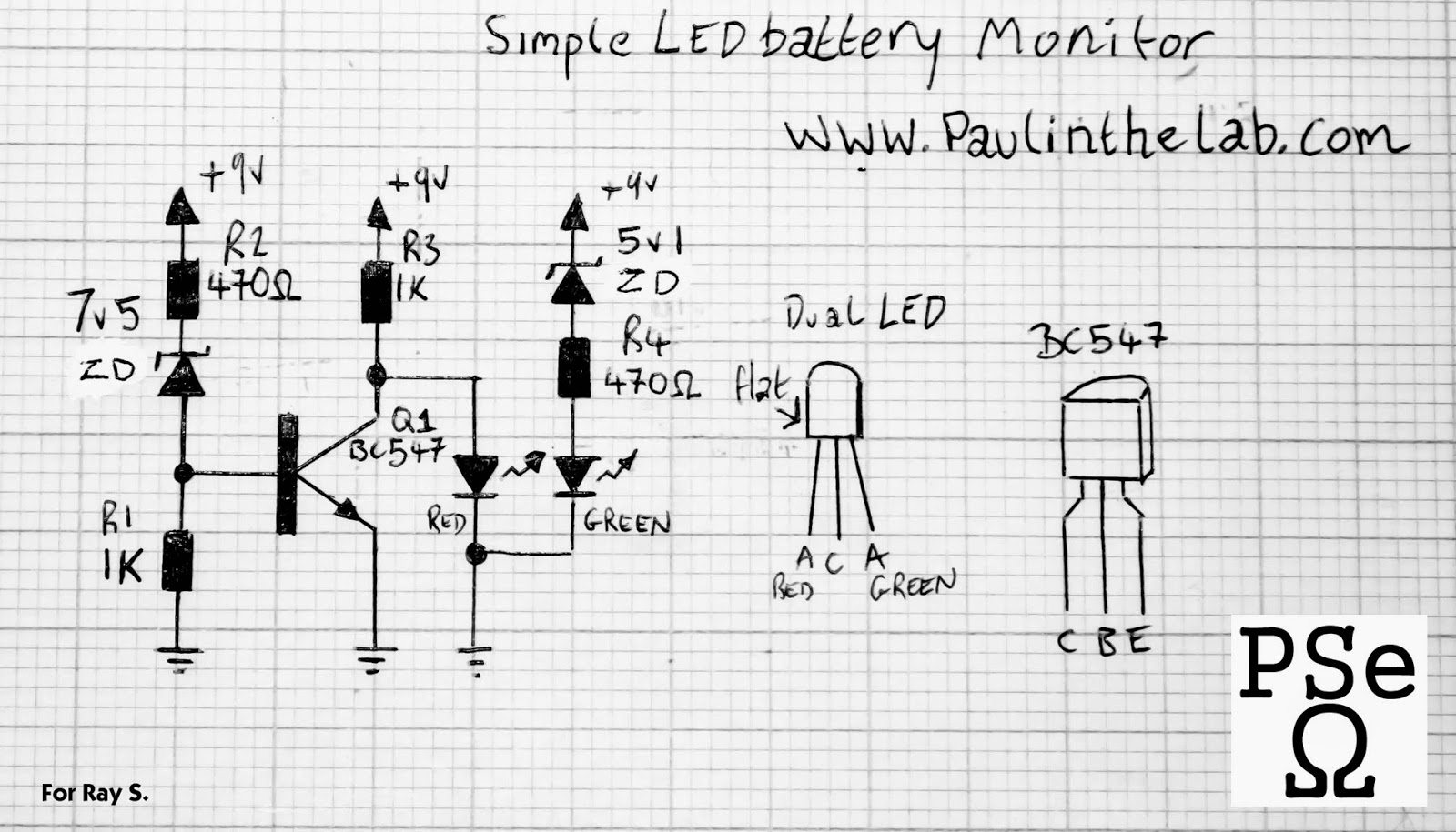paul in the lab  simple dual led battery monitor stripboard layout